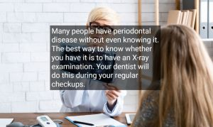 Female Doctor looking for periodontal disease on a patient's x-ray results, with text - Rotary Way, CA
