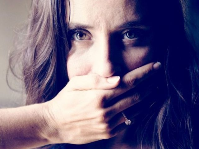 Woman covering her mouth with hand because of bad breath, with text - Rotary Way, CA