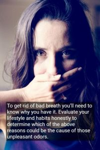 Woman covering her mouth with hand because of bad breath, with text, with text - Rotary Way, CA